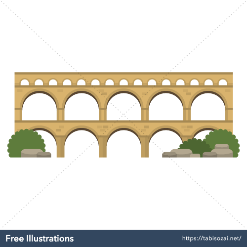 Pont du Gard Free Vector Illustration