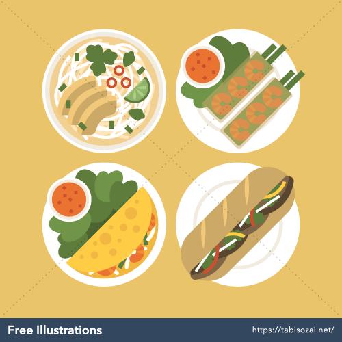 Vietnamese food Free Vector Illustration