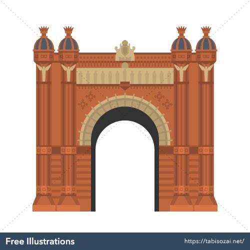 バルセロナ凱旋門の無料イラスト素材