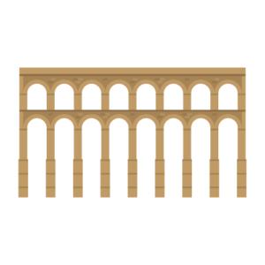 セゴビアの水道橋の無料イラスト素材
