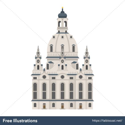 ドレスデンの聖母教会の無料イラスト素材