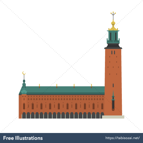 Stockholm City Hall Free Vector Illustration