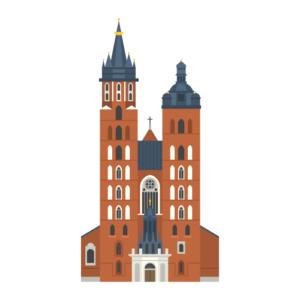 クラクフの聖マリア教会の無料イラスト素材