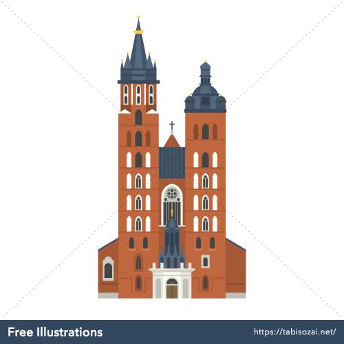 St. Mary's Basilica, Kraków Free Vector Illustration