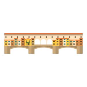 ヴェッキオ橋の無料イラスト素材
