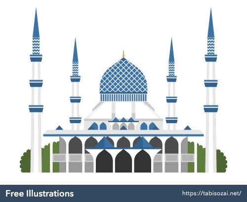 スルタン・サラディン・アブドゥル・アジズ・モスクの無料イラスト素材