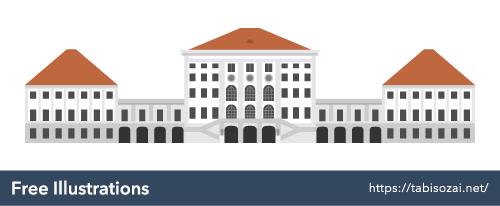 ニンフェンブルク宮殿の無料イラスト素材
